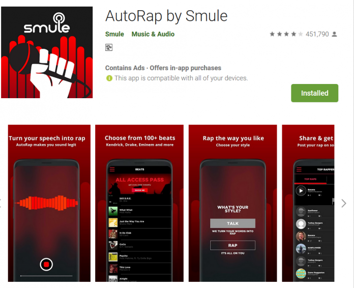 AutoRap by Smule Best Rap music app Rap song making android App Do Something New