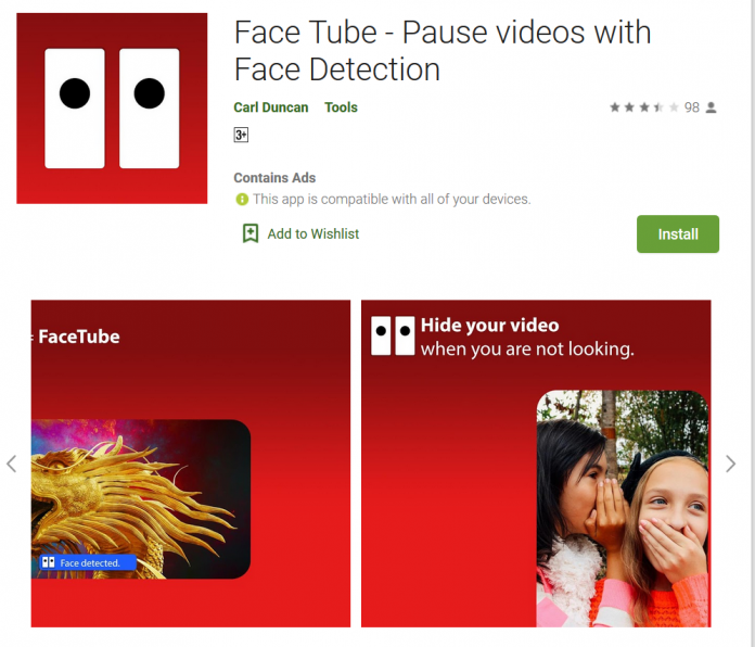 Face Tube - Pause videos with Face Detection