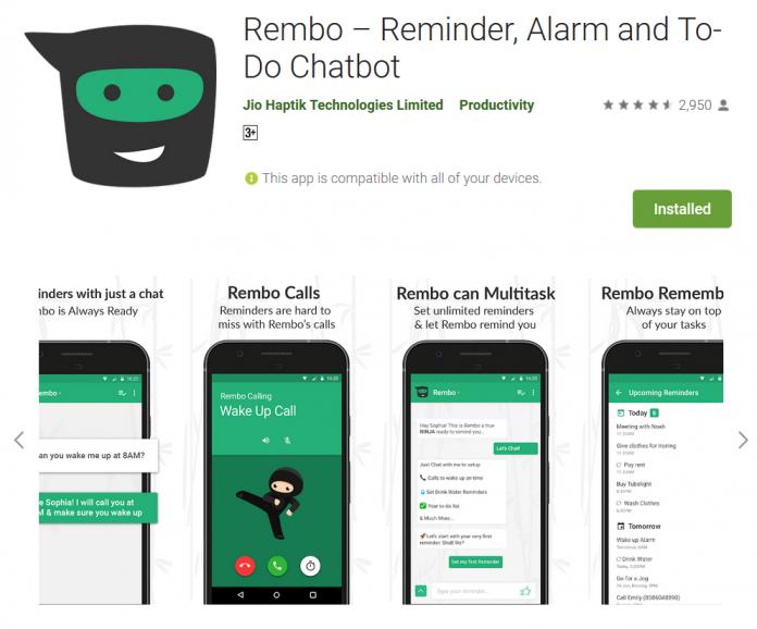 Rembo – Reminder, Alarm and To-Do Chatbot Reminder Ninja App Do Something New